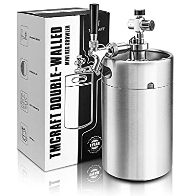 TMCRAFT 128OZ Double-Walled Mini Keg Growler, Pressurized Home Beer Dispenser System with Detachable Faucet and…