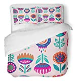 Emvency 3 Piece Duvet Cover Set Breathable Brushed Microfiber Fabric Children Scandinavian Folk Flowers Cut Norwegian Floral in Drawing Mexican Bedding Set with 2 Pillow Covers Twin Size