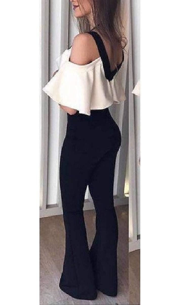 Sebaby Womens Boot Cut Cut Out Shoulder V Neck Cocktail Swing Jumpsuit Romper