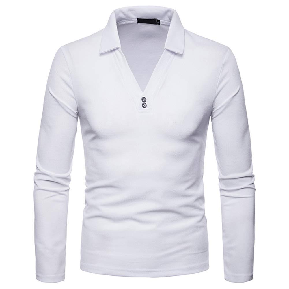 Sliktaa - Polo - Manga Larga - para Hombre Blanco Blanco XL ...