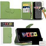 IWIO Motorola Nexus 6 (Google) Green PU Leather Executive Multi-Function Wallet Case Cover Organiser Flip with Credit / Business Card Money Holder Integrated Horizontal Viewing Stand Includes Tempered Glass Protective LCD Screen Protector