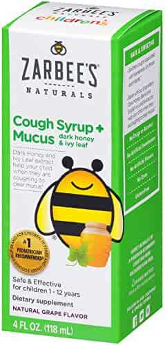 Zarbee's Naturals Children's Cough Syrup + Mucus with Dark Honey, Natural Grape Flavored Formula That  Soothes Throats, 4 Ounce Bottle Safe, effective, drug free