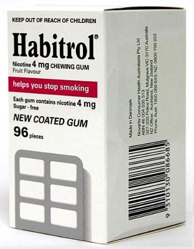 4 Mg Fruit Flavor (Habitrol Nicotine Quit Smoking Gum, 4mg, Fruit flavor coated gum. 96 pieces per box)