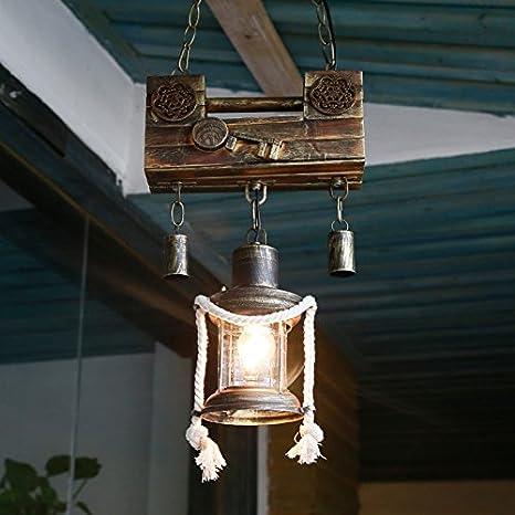 Mediterráneo antiguo chino candado cerradura solo pasillo retro restaurante lámpara bar lámparas de arte creativo hecho a mano: Amazon.es: Iluminación