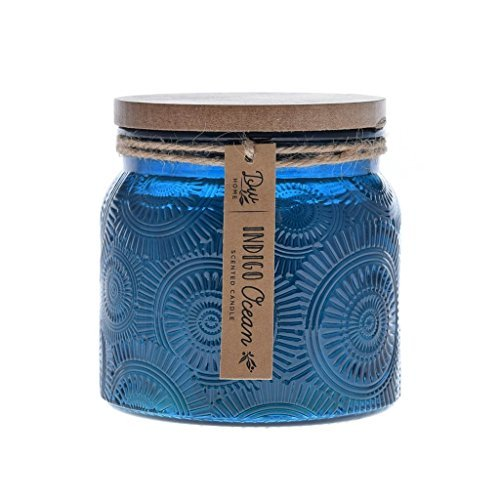 Large Scented Candle INDIGO OCEAN Fragrance in Blue Decorative Jar with Wood Lid by DW Home