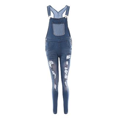 laamei Femme Combinaison Salopette en Denim Décontractée Pantalons Bretelles Casual Jeans Pantalon Playsuit avec Poche Poitrine