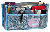 Purse Organizer,Insert Handbag Organizer Bag in Bag (13 Pockets 15 Colors 3 Size) (S, Blue Flower)