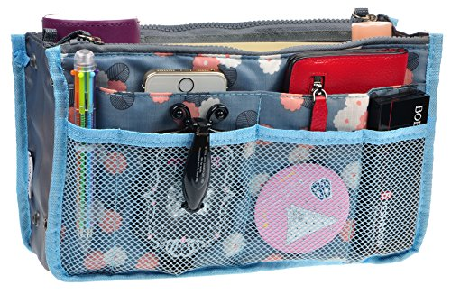 Purse Organizer,Insert Handbag Organizer Bag in Bag (13 Pockets 15 Colors 3 Size) (M, Blue Flower)