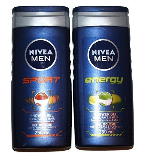 Nivea MEN Shower Gel Twin Set SPORT & ENERGY Body, Face & Hair Wash 2 x 250ml HealthCentre