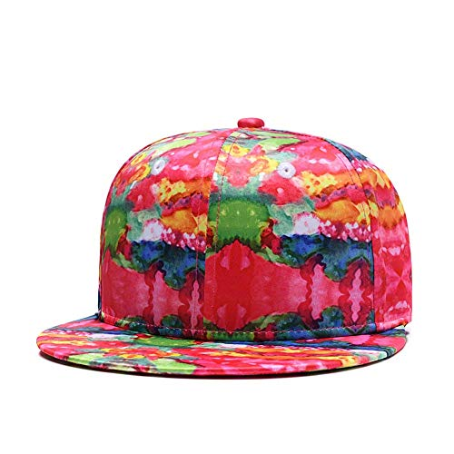 (Colorful Snapback Hats for Men Women, Abstract Printed Summer Baseball Cap Vintage Flat Bill Youth Hip Hop Caps Red)