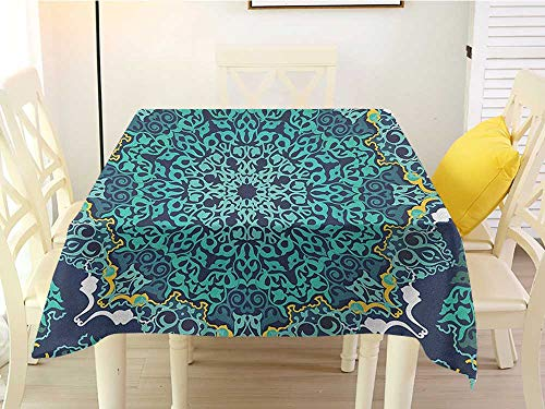 Brick Vinyl Ottoman - L'sWOW Square Tablecloth Vinyl Turkish Pattern Authentic Motifs of Ottoman Culture Round and Floral Shape Turquoise Dark Blue Yellow Clean 60 x 60 Inch