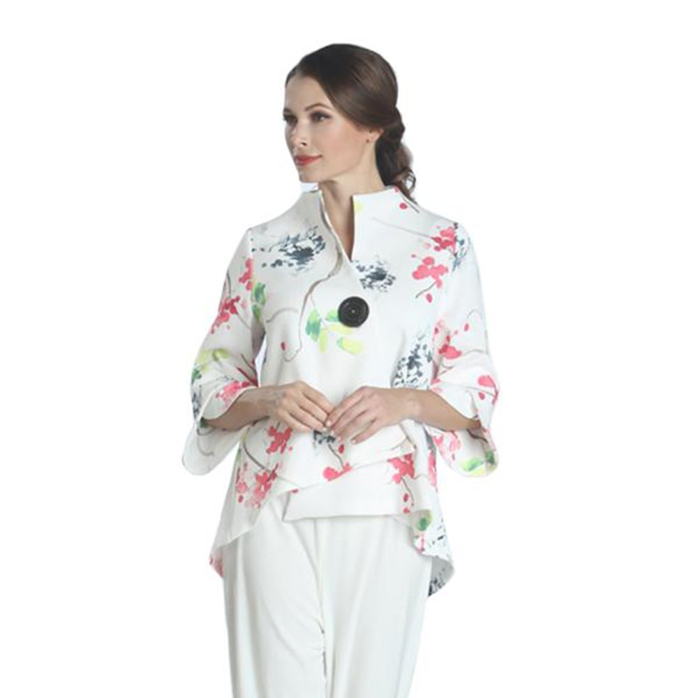 IC Collection Watercolor Floral Print Asymmetric Jacket - 1177J (Large)