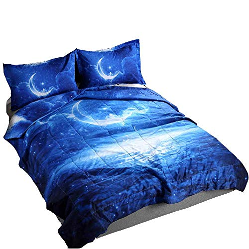 YOMIMAX Mysterious Boundless Galaxy Sky Quilt Sets Queen 3D Crescent Moon Print Bedspreads/Coverlet Sets(3PCS,F)