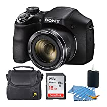 Sony DSCH300/B Digital Camera (Black) Bundle with High Speed 8GB Card, Padded Case, Lens Cleaning Kit