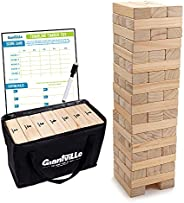 Giant Tumbling Timber Toy - Jumbo JR. Wooden Blocks Floor Game for Kids and Adults, 56 Pieces, Premium Pine Wo