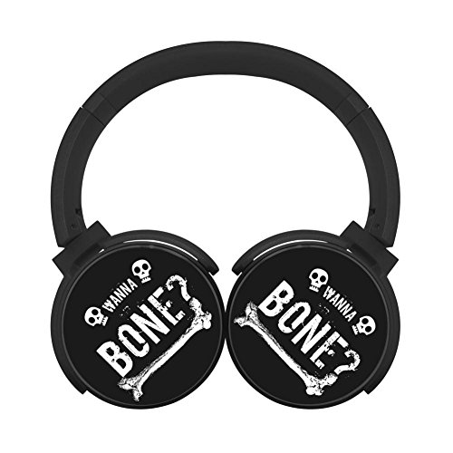 MagicQ Wanna Bone Skull Bluetooth Headphones,Hi-Fi Stereo Earphones Black