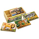 Melissa & Doug Wooden Jigsaw Puzzles in a Box - Wild Animals