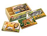 Melissa & Doug Wild Animals 4-in-1 Wooden Jigsaw Puzzles in a Storage Box (48 pcs)