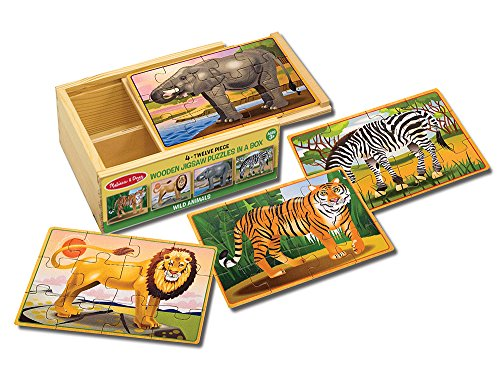 Melissa And Doug Puzzle Case - Melissa & Doug Wild Animals 4-in-1 Wooden Jigsaw Puzzles in a Storage Box (48 pcs)