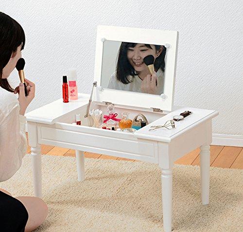ドレッサー 鏡台 コスメテーブル テーブル ローテーブル 化粧テーブル コスメ収納 収納テーブル 化粧台 1面鏡 引き出し付き コンパクト 大容量 軽量 北欧風 おしゃれ 新生活 ホワイト B07BNB5DQK