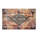 harley davidson house floor mats - Harley-Davidson Embossed Flames Bar & Shield Entry Floor Mat, Brown 41EM4901