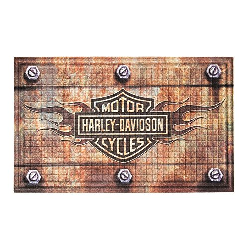 harley-davidson-embossed-flames-bar-shield-entry-floor-mat-brown-41em4901