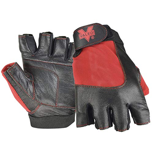 Valeo Industrial V336 Material Handling Fingerless Leather Gloves with Padded Palms, VI5159, Pair, Red, Large ()