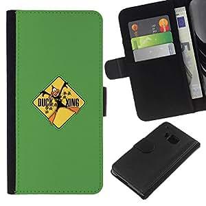 All Phone Most Case / Oferta Especial Cáscara Funda de cuero Monedero Cubierta de proteccion Caso / Wallet Case for HTC One M7 // Duck Xing - Funny