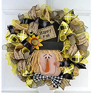 Fall Scarecrow Deco Mesh Wreath | Thanksgiving Front Door Wreath | Black Jute Yellow Buffalo Check 79