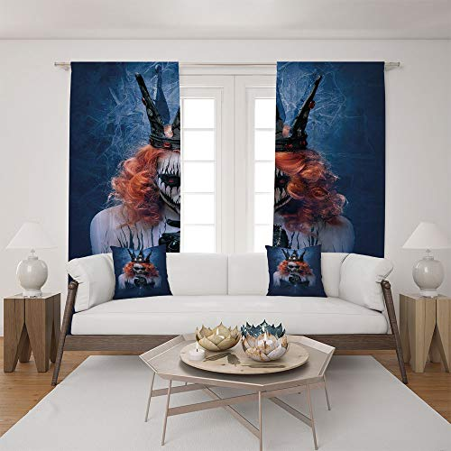2 Panel Set Satin Window Drapes Living Room Curtains and 2 Pillowcases,Art Halloween Evil Face Bizarre Make Up Zombie,The perfect combination of curtains and pillows makes your living room warmer