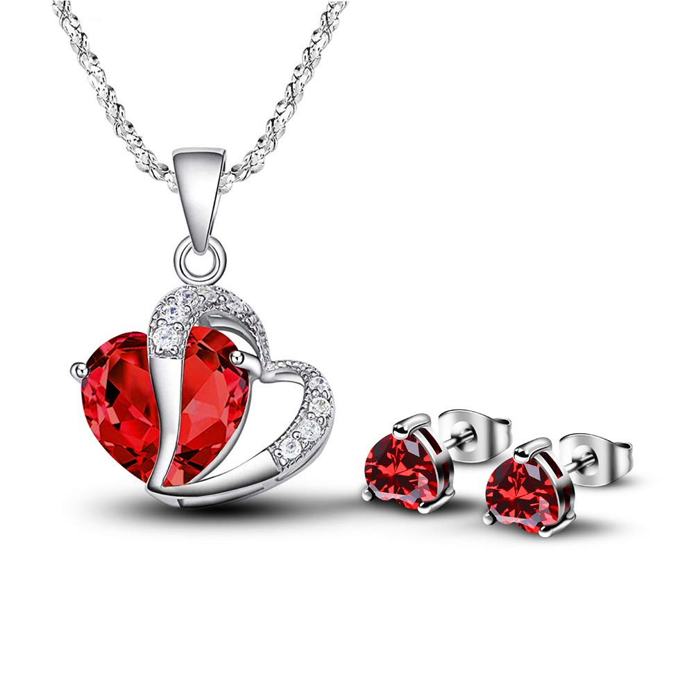 Women's Heart Shape Red Crystal Jewelry Set CZ Simulated Ruby Necklace Earrings Sets by Formissly-sisa