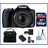 Canon Powershot SX530 HS 16.0 MP Digital Camera with 50x Optical Zoom and 1080p Full HD Video Bundle Kit; Includes: NB-6L Battery, 64GB SDXC High Speed Memory Card, Small Camera Bag, Mini Tripod, Card Reader, Lens Cleaning Kit, Memory Card Wallet and Mini HDMI Cable