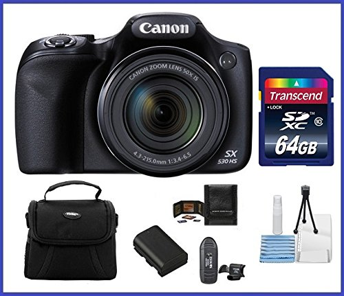 Cheap Canon Powershot SX530 HS 16.0 MP Digital Camera with 50x Optical Zoom and 1080p Full HD Video Bundle Kit; Includes: NB-6L Battery, 64GB SDXC High Speed Memory Card, Small Camera Bag, Mini Tripod, Card Reader, Lens Cleaning Kit, Memory Card Wallet and Mini HDMI Cable