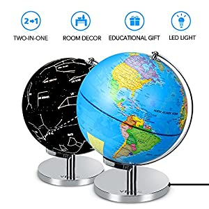 Illuminated World Globe - 2 in 1 Globe with Plug, Daytime View 9