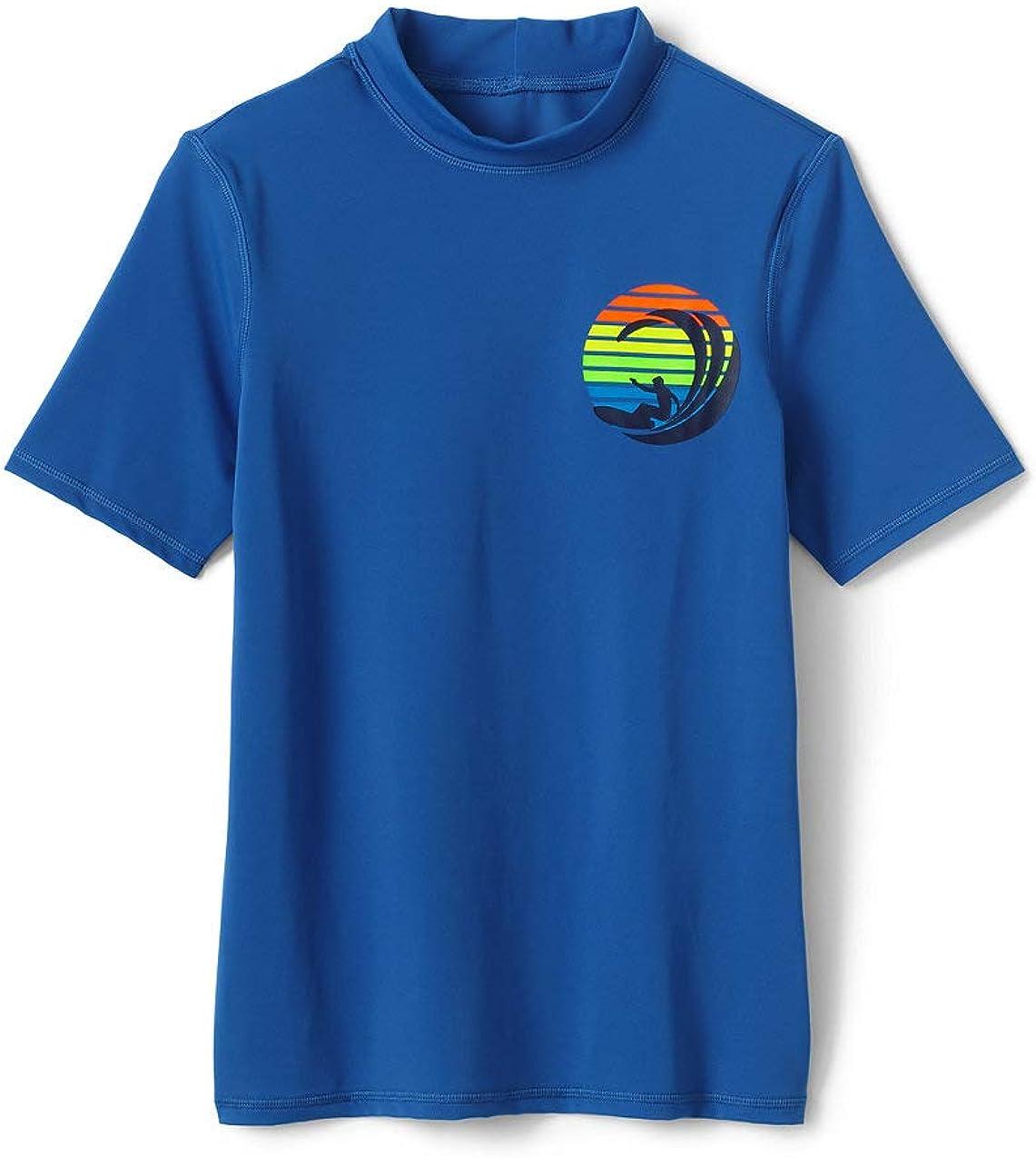 Lands End Boys Graphic Rashguard Rainbow Surf Largeittle Kid Medium
