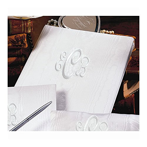 White Moire Monogram (240 signatures, 3 ring binder) Memory Book