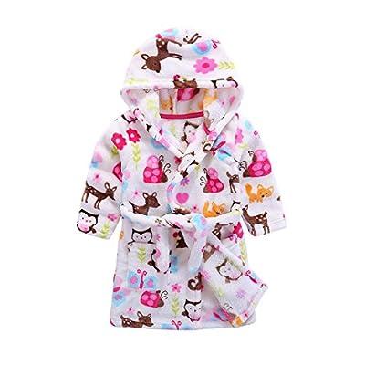 Kids Soft Hooded Bathrobe Toddler Robe Children's Pajamas Boys Girls Sleepwear