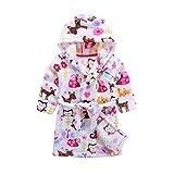 Kids Soft Hooded Bathrobe Toddler Robe Children's Pajamas Boys Girls Sleepwear (110/2T, F-Birds)