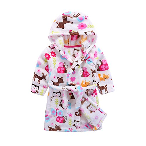 (Kids Soft Hooded Bathrobe Toddler Robe Children's Pajamas Boys Girls Sleepwear (120/3T, F-Birds) )