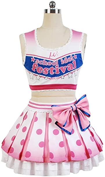 Amazon.com: Love Live Yazawa Nico Vestido uniforme animadora ...