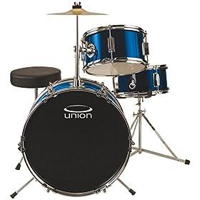 Union DBJ3071(DB) 3-Piece Junior Drum Set with Hardware, Cymbal and Throne - Metallic Dark Blue 3