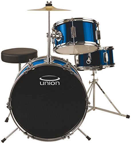 Union DBJ3071(DB) 3-Piece Junior Drum Set with Hardware, Cymbal and Throne – Metallic Dark Blue