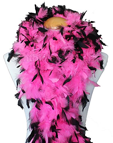 Cynthia's Feathers 80g Chandelle Feather Boa (Hot Pink/Black tips) ()