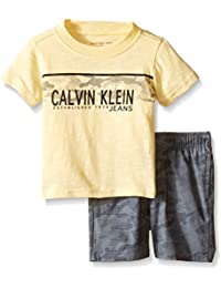 Calvin Klein Baby Boys' Jersey Tee and Rip-Stop Canvas Shorts