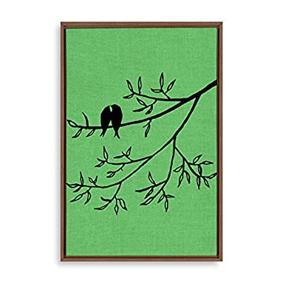 Framed Canvas Wall Art for Living Room, Bedroom Bird on Branch Illustration I Canvas Prints for Home Decoration Ready to Hang - 24x36 inches