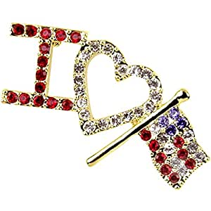 I LOVE USA 4th of July American Patriotic Brooch Red White Blue Flag Jewelry