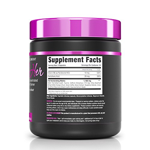 NLA for Her Shred Her All Natural Ultra Concentrated Thermogenic Fat Burner Supports Energy Levels and Mood, Increases Fat Loss, & Helps Suppress Appetite 60 Capsules