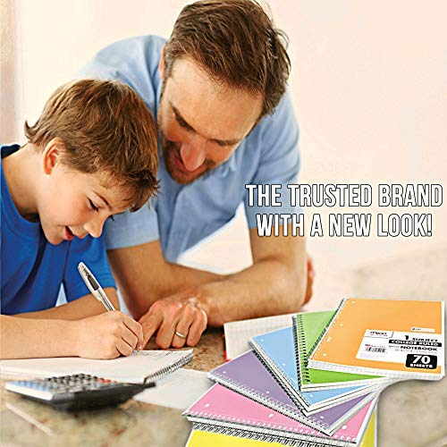 70 Pages With 24 Count of BIC Xtra-Sparkle Mechanical Pencil Pastel Color Cute school Notebooks Medium Point 0.7mm Mead Spiral Notebook 6 Pack of 1-Subject College Ruled Spiral Bound Notebooks