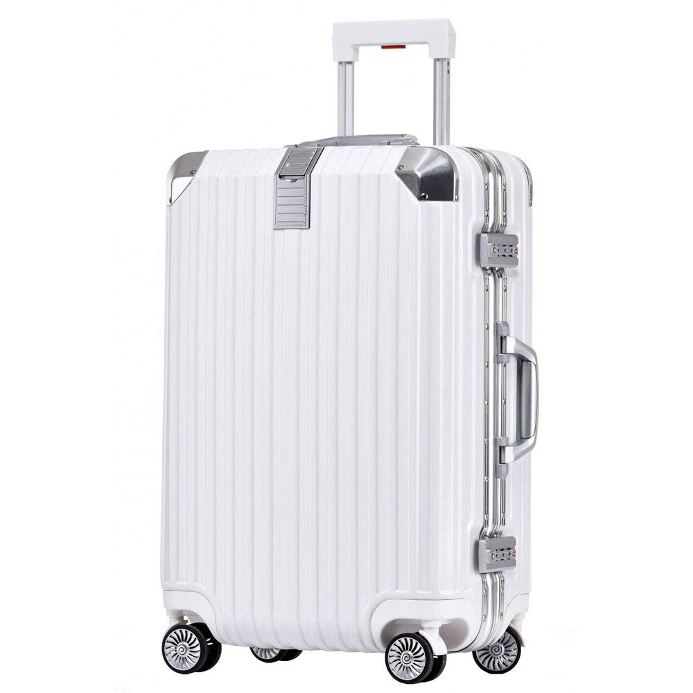 トロリーケース24インチアルミフレームパスワードスーツケース男性と女性ユニバーサルホイールビジネススーツケース (Color : 白, Size : 24 inch)   B07R1V2CQB