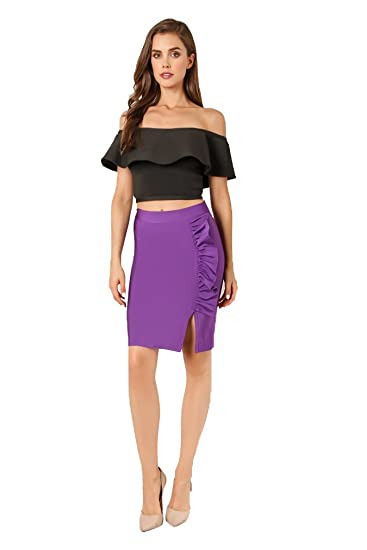 Wow Couture Womens High Waist Casual Side Slit Ruffle Bandage Skirt at  Amazon Women s Clothing store  73ddff30452a